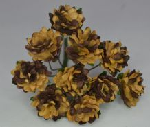 2 tone CHOCOLATE BROWN ASTER Daisy (1.3 cm) Mulberry Paper Flowers